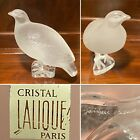 Signed LALIQUE Frosted Crystal Glass Perdrix Pheasant Quail Partridge Sculpture