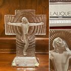 Signed LALIQUE Crystal Glass Jesus Christ on Cross Crucifix Sculpture w Label