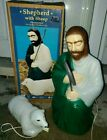 VTG Shepherd with Staff  Lamb Blow Mold w BOX General Foam Nativity Christmas
