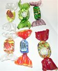 Authentic Murano Italy Glass Wrapped Candy Yellow Green Lot 6 Vintage Candies