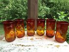 6 Vintage Blenko Amberina Red Yellow Glass Indented Dimple Pinched Tumblers 6