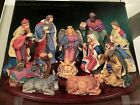 NEW Nativity Display 1999 Home For The Holidays 12 Piece Porcelain Inc Wood Base