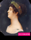 ANTIQUE Early 1800 EMPIRE PERIOD FRENCH MINIATURE HAND PAINTING Profile Portrait