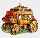 Western Stage Coach Wagon Polish Mouth Blown Glass Christmas Ornament Decoration