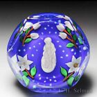 Saint Louis 1982 Winter sulphide and flowers faceted glass paperweight