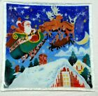 Peggy Karr SIGNED Square Fused Glass Plate Santa Over Roof reindeer Christmas