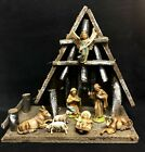 Vintage 13 ITALY Musical Nativity Manger with 8 Nativity Items Largest is 6