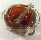Mid Century Murano Glassware Glass Mortar and Pestle Italy Red Gold