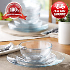 New Beautiful 12 Piece Square Clear Glass Dinnerware Dining Set Dinner Meal
