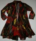 NWT Ali Miles Black Red Yellow FUNKY FLORAL LIGHTWEIGHT OPEN JACKET S Cardigan