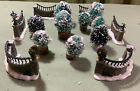 Lemax Village Stone Wall Set of 6 63576 Christmas Collection & 9 Vintage Shrubs