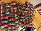 Handmade ScarfAlmond stitch red green white 4 ply worsted weight acrylic