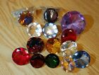 Crystal Glass Diamond Paperweight Lot Of 14 Blue Pink Orange Green red yellow