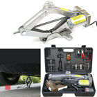 5T Electric Scissor Jack Lift + Wrench Automatic Garage Vehicle Tire Repair Tool