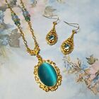 Blue Cats Eye 22kt gold Necklace and Crystal Earrings Gift Set BSue by 1928