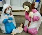 Vintage Nativity Mary Joseph and Baby Jesus Blow Mold Plastic Lighted 3 pieces