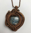 Handmade Copper Wire Wrapped Lampwork Glass Bead Pendant Necklace Blue Brown