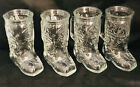 Clear Glass 6 Western Boot Mugs 6 Tall with Handles