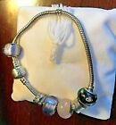 STUNNING TROLLBEADS BRACELET SILVER 6 BEADS WITH BOX