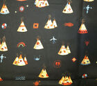 Alexander Henry Fabric Lacota Plains 44 x 60 Native American Indian Teepee Blk