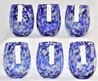 Confetti Stemless Wine Glass Blue White Set of 6 TAG 16 oz FREE SHIPPING