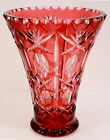 Cranberry Ruby Cut to Clear Crystal Vase EXCELLENT CONDITION 8 1 2 Thick Wall