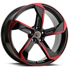 4 Revolution R20 18x8 5x45 +40mm Black Red Wheels Rims 18 Inch