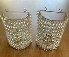 2 Vintage Glass Beaded Beads Candle Holders Light Wall Sconce Sconces rare