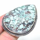 Big Tibetan Turquoise Gemstone 925 Solid Sterling Silver Jewelry Ring Size Adjs