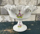 Fenton White Milk Glass Ruffled Edge Footed Compote Violets in the Snow