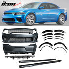 Fits 15 20 Dodge Charger Widebody Whole Bumper Side Carbon Look Diffuser Kits