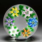 J Glass 1981 multi colored clematis garland glass paperweight