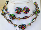 STUNNING VINTAGE AUSTRIAN Faceted Glass AB Crystal FACETED Bead Necklace SET