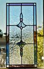 Leaded STAINED GLASS WINDOW PANEL 109 x 228 ART DECO NOUVEAU Clear Pink Blue