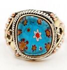 Three Tone Murano Glass 925 Solid Sterling Silver Ring Jewelry Sz 8 ED33 4