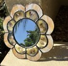 STUNNING VINTAGE HAND CRAFTED HANGING STAINED GLASS FRAMED MIRROR