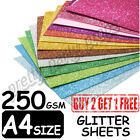 Pack of 50 Sheets A4 Size Zero Shed Glitter Card Self Adhesive Assorted Colours