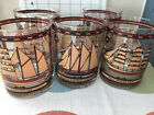 5 Vtg Georges Briard Heavy Gold Rocks Glasses Lowball Mid Century Tall Sailing