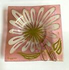 Higgins Fused Art Glass Pink Daisy Trivet Dish Plate Ashtray