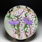 Lundberg Studios 1998 Pink Wisteria and Butterflies compound glass paperweight