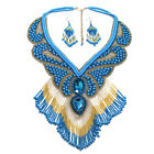 HANDMADE BEADED NATIVE STYLE TURQUOISE BLUE GOLD NECKLACE EARRINGS SET S53 10