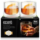 Old Fashioned Whiskey Glasses Hand Blown Double Walled Cocktails Glass Set of 2