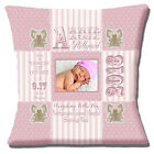 PERSONALISED BIRTH PINK Name Date Time Weight PHOTO 16 Pillow Cushion Cover