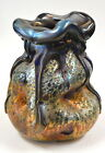 Blue Gold Luster Organic Vase With Lava Design Blown Glass