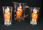 Vintage AW The Great Root Bear Glass Pitcher with 2 Matching Glasses