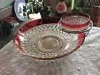 Vintage Indiana Glass Diamond Point Ruby Band Crystal 3 Piece Chip N Dip Set