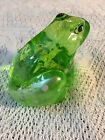 Fenton Green Glass Frog Handpainted And Signed