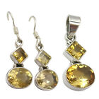 YELLOW Stone Jewelry Set For Bride 925 Pure Silver CUT CITRINE Earrings Pendant