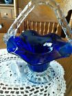 Lot of 2 Fenton Cobalt Blue Art Glass Baskets Mint condition new never used