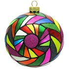 Multicolored Tiles Pop Art Polish Glass Ball Christmas Tree Ornament Made Poland